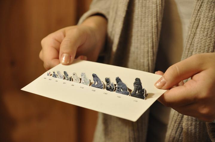 画像:狛犬の背比べポストカード